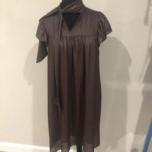 Dresses & Skirts - Metallic dark brown dress with tie around neck
